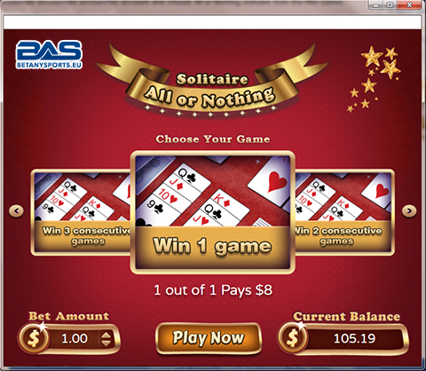 Screen Shot - Betanysports Mini Game - All or Nothing Solitaire